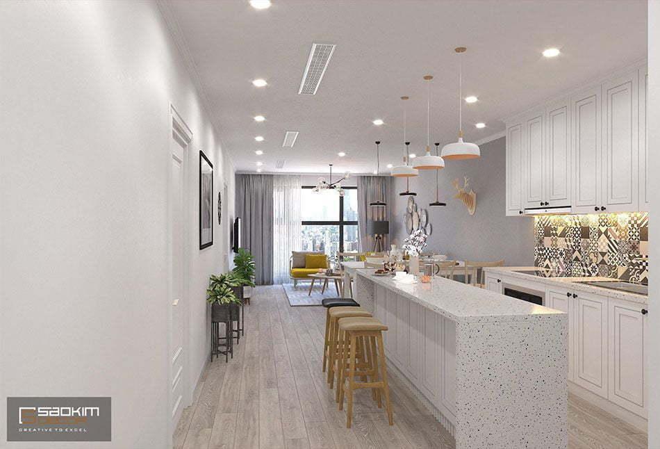 Thiết kế phòng bếp nhà chung cư đẹp Sunshine Garden