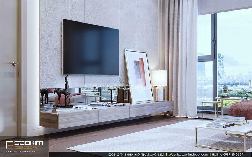 Thiết kế nội thất chung cư theo phong cách hiện đại có bảng màu đơn giản với những đường nét sắc sảo