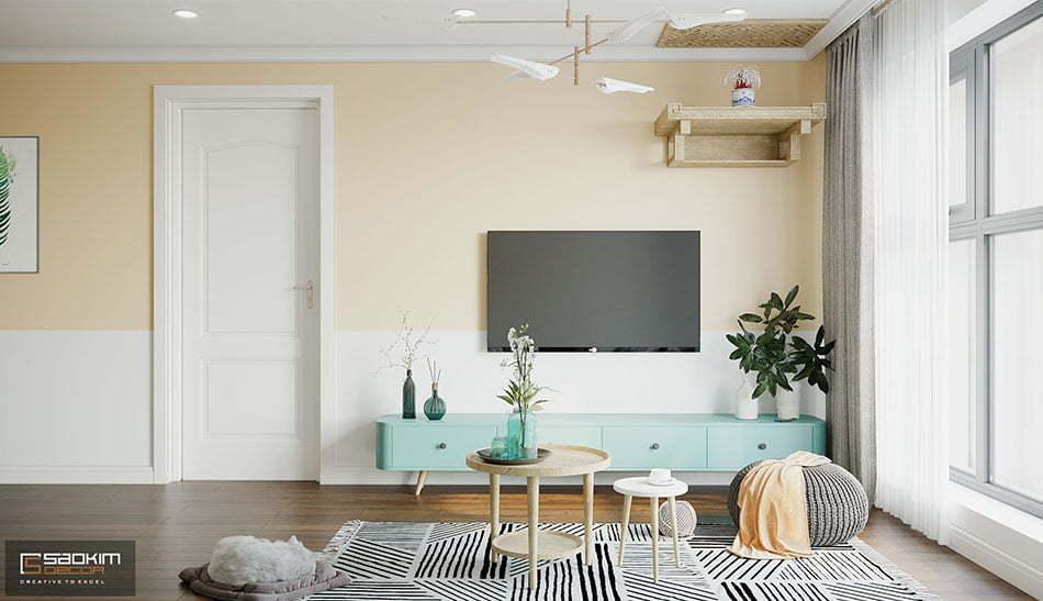 Thiết kế nội thất phòng khách Scandinavian chung cư Sunshine Garden