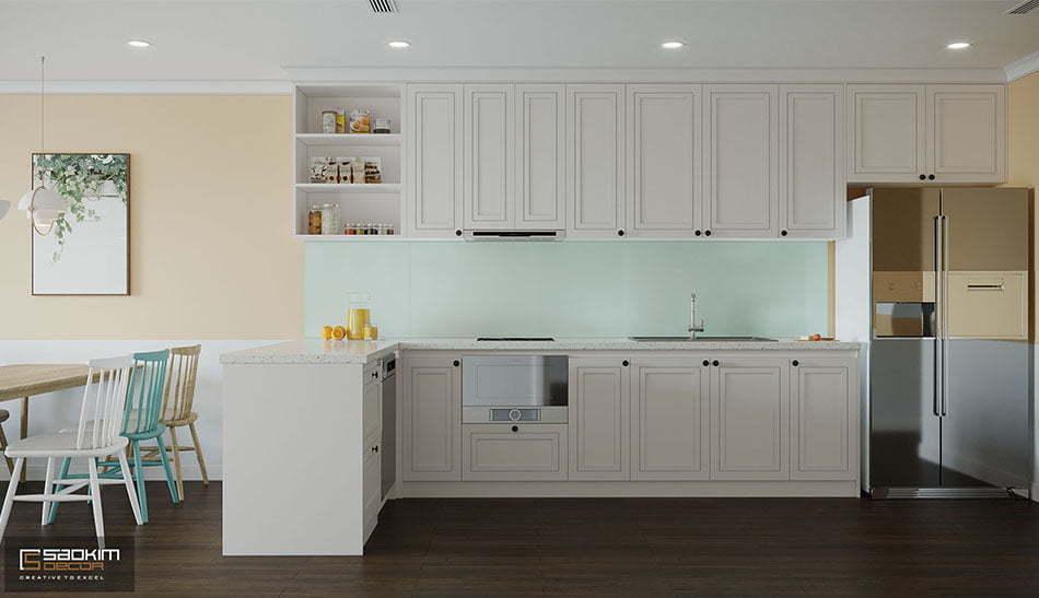 Thiết kế nội thất phòng bếp Scandinavian chung cư Sunshine Garden