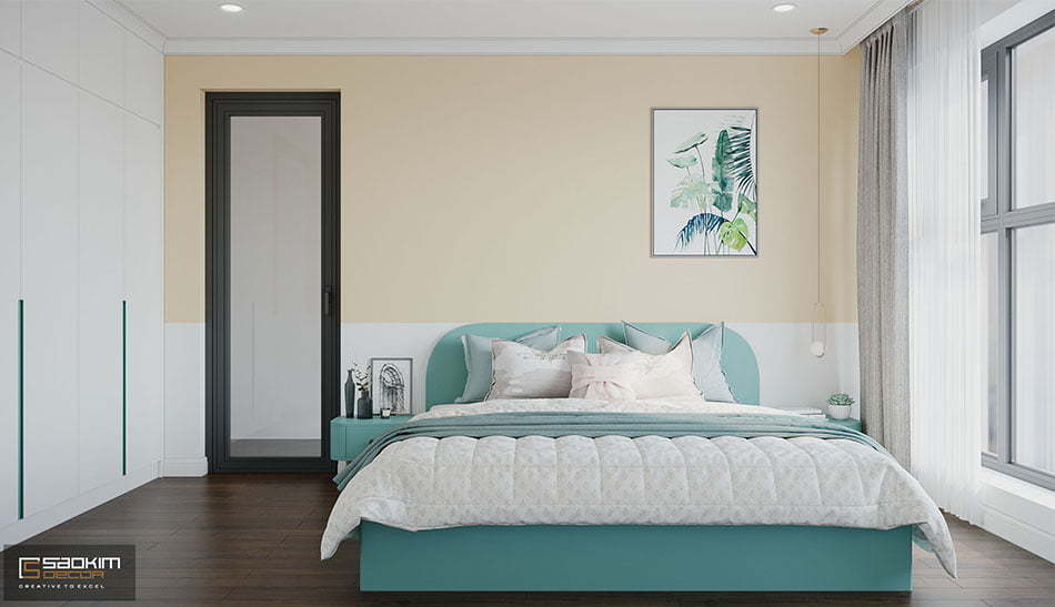 Thiết kế nội thất phòng ngủ master phong cách Scandinavian chung cư Sunshine Garden