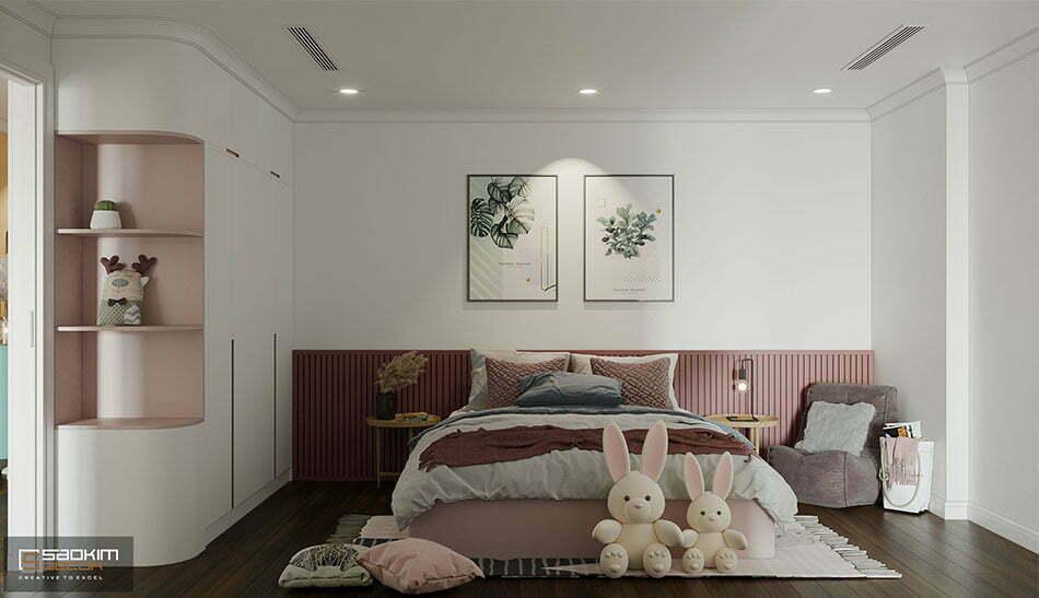 Thiết kế nội thất phòng ngủ bé gái phong cách Scandinavian chung cư Sunshine Garden