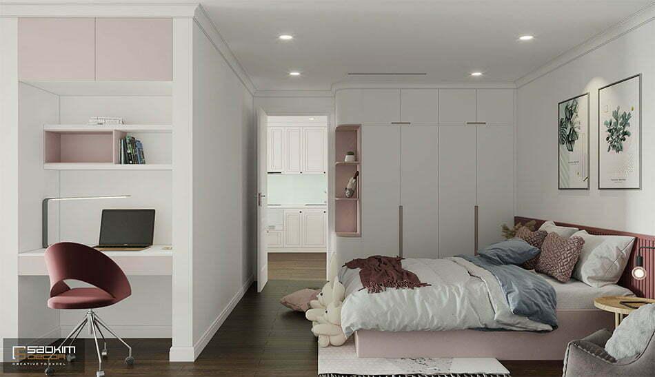 Thiết kế nội thất phòng ngủ bé gái phong cách Scandinavian với gam màu hồng pastel