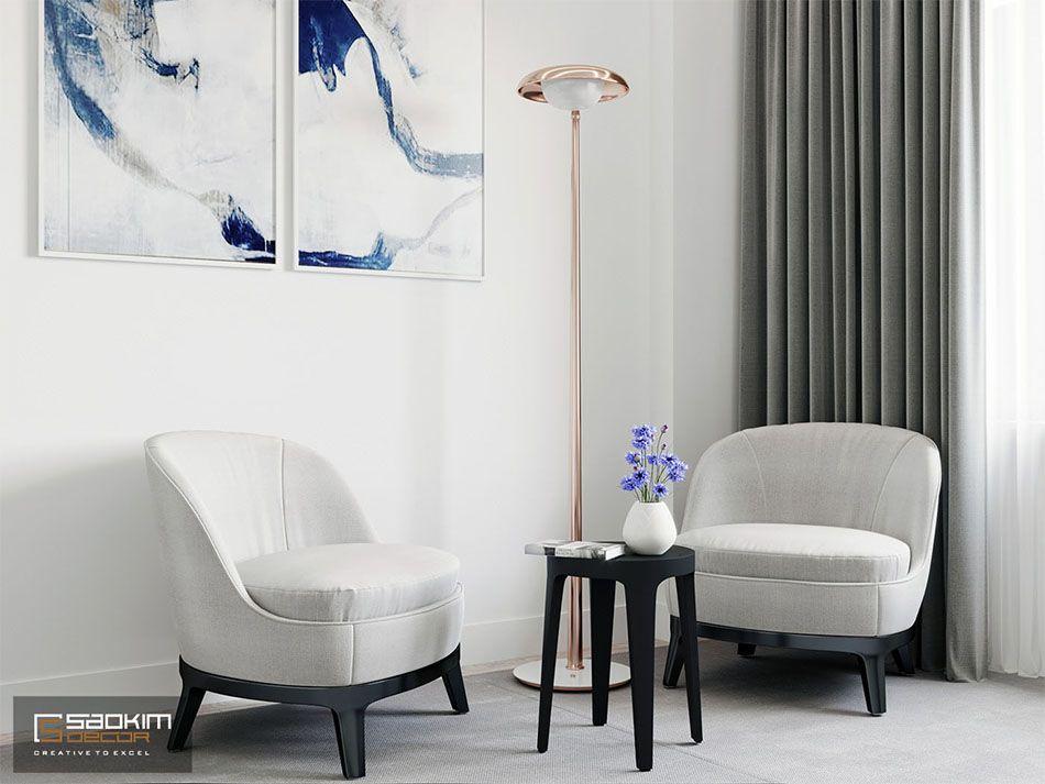Một bức tranh trừu tượng tạo điểm nhấn cho thiết kế nội thất tối giản