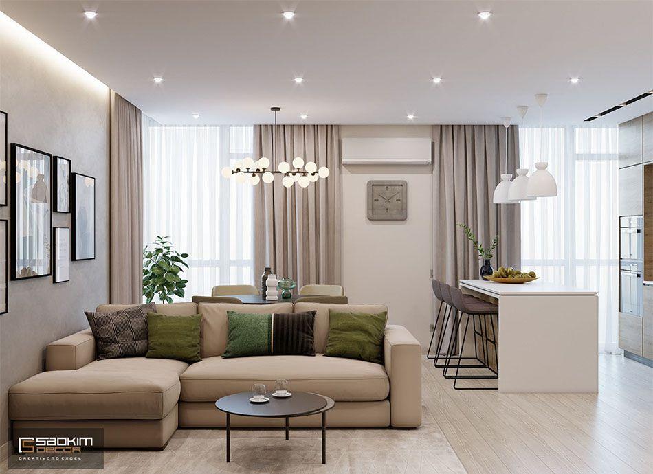 Thiết kế nội thất chung cư hiện đại 78m2 với bảng màu tự nhiên