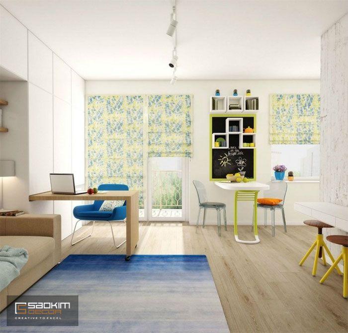 Thiết kế nội thất chung cư 25m2 đầy đủ tiện nghi