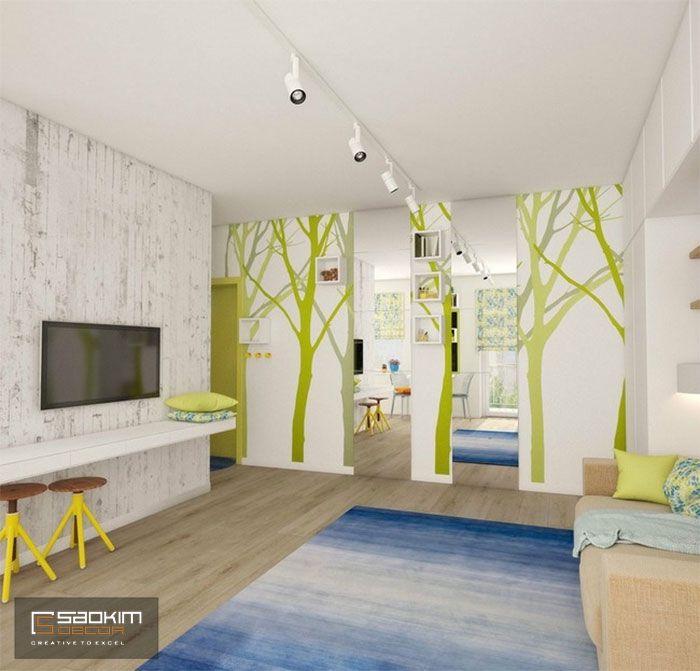 Thiết kế chung cư mini 25m2 phong cách Color Block mang tới sự tươi mới