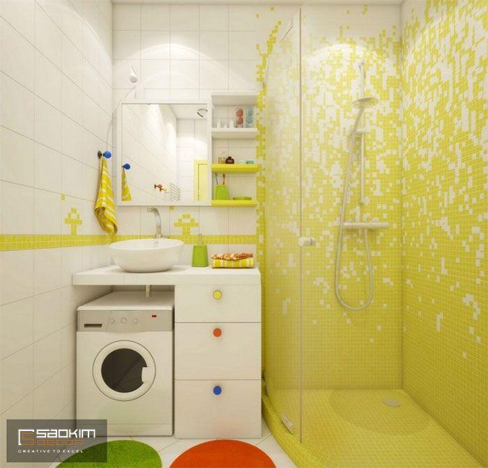 Thiết kế nội thất phòng tắm chung cư cho thuê phong cách Color Block