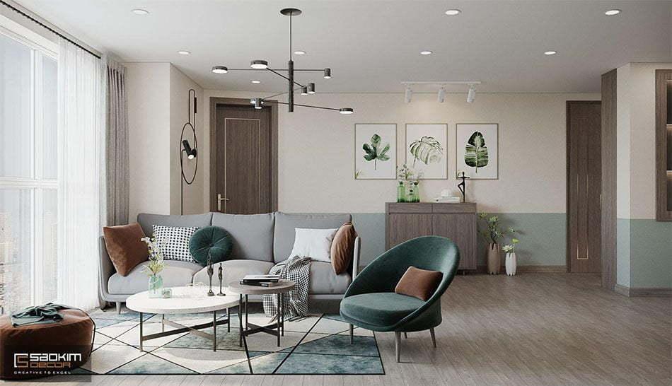 Mẫu thiết kế chung cư 3 phòng ngủ OCT3A khu đô thị mới Cổ Nhuế