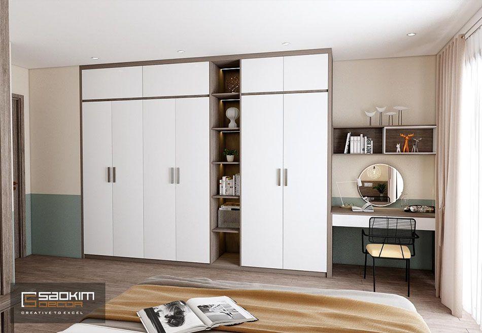 Thiết kế phòng ngủ 2 chung cư theo phong cách Color block