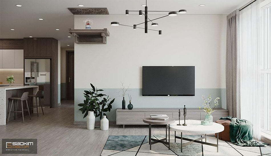 Thiết kế phòng khách chung cư 3 phòng ngủ OCT3A dự án Resco Cổ Nhuế