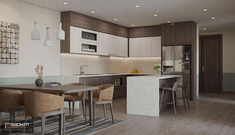 Thiết kế phòng bếp chung cư phong cách Color block
