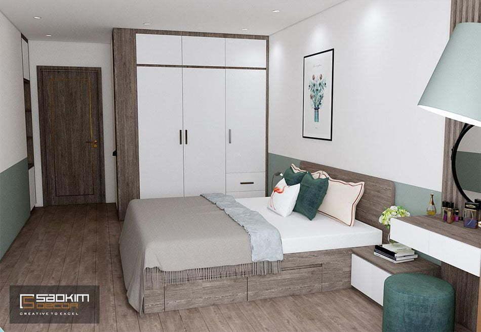 Mẫu thiết kế phòng ngủ master chung cư OCT3A dự án Resco Cổ Nhuế
