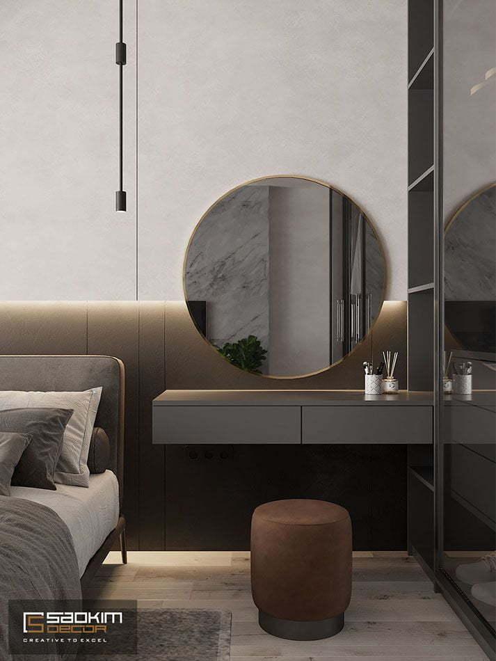 Thiết kế nội thất phòng ngủ căn hộ chung cư Vinhomes Skylake Phạm Hùng theo phong cách Đài Loan