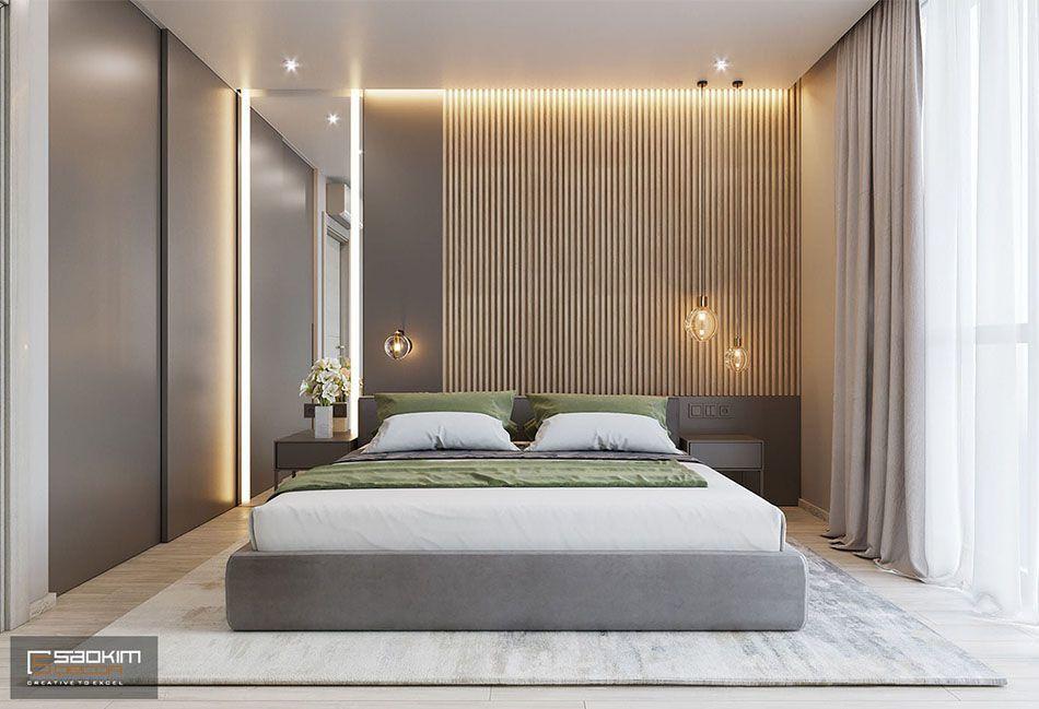 Mẫu thiết kế nội thất phòng ngủ master chung cư 78m2 Eco City Việt Hưng