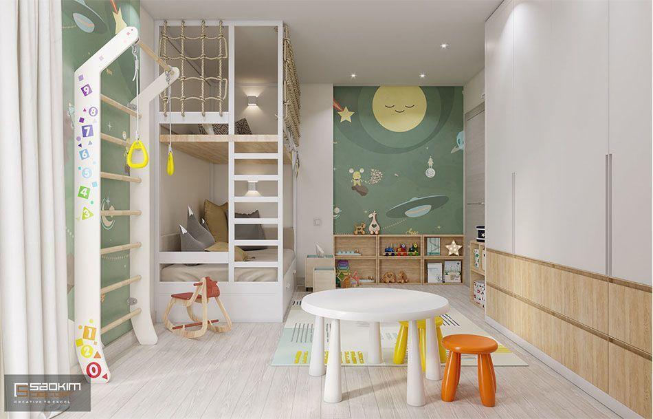 Mẫu thiết kế nội thất phòng ngủ cho bé chung cư 78m2 Eco City Việt Hưng