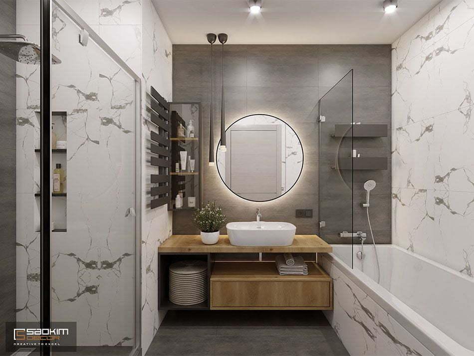Mẫu thiết kế nội thất phòng tắm căn hộ chung cư Eco City Việt Hưng