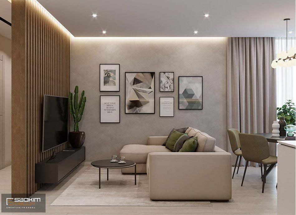 Mẫu thiết kế nội thất phòng khách chung cư 78m2 Eco City Việt Hưng