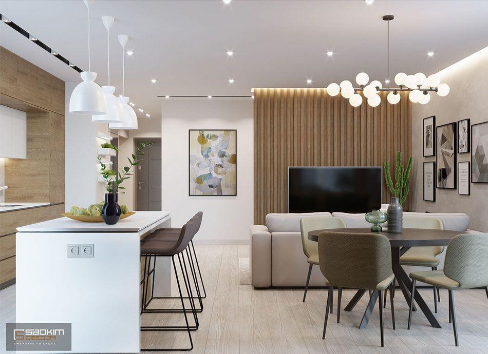 Mẫu thiết kế nội thất chung cư đẹp 78m2 Eco City Việt Hưng