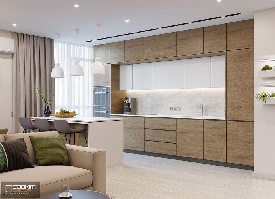 Thiết kế nội thất phòng bếp chung cư 78m2 Eco City Việt Hưng