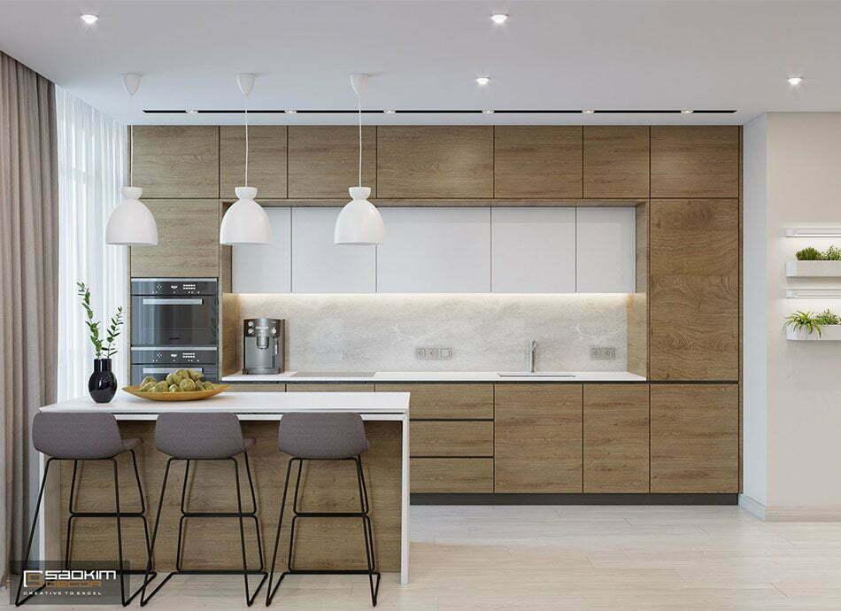 Mẫu thiết kế nội thất phòng bếp chung cư 78m2 Eco City Việt Hưng theo phong cách hiện đại