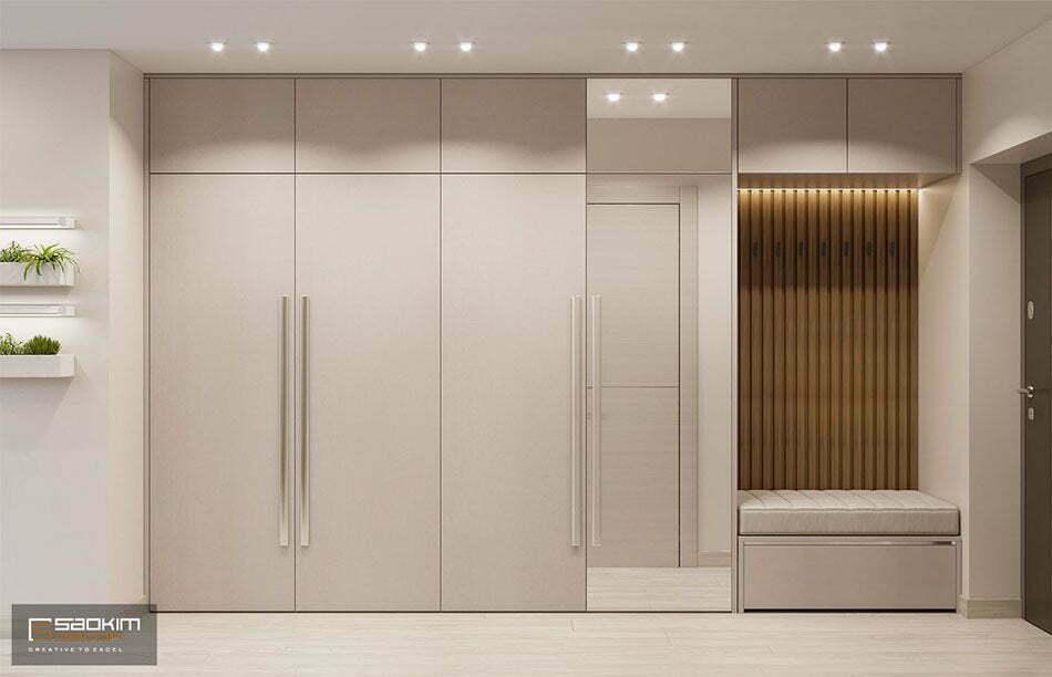 Thiết kế nội thất hành lang chung cư 78m2 Eco City Việt Hưng được đầu tư kỹ lưỡng