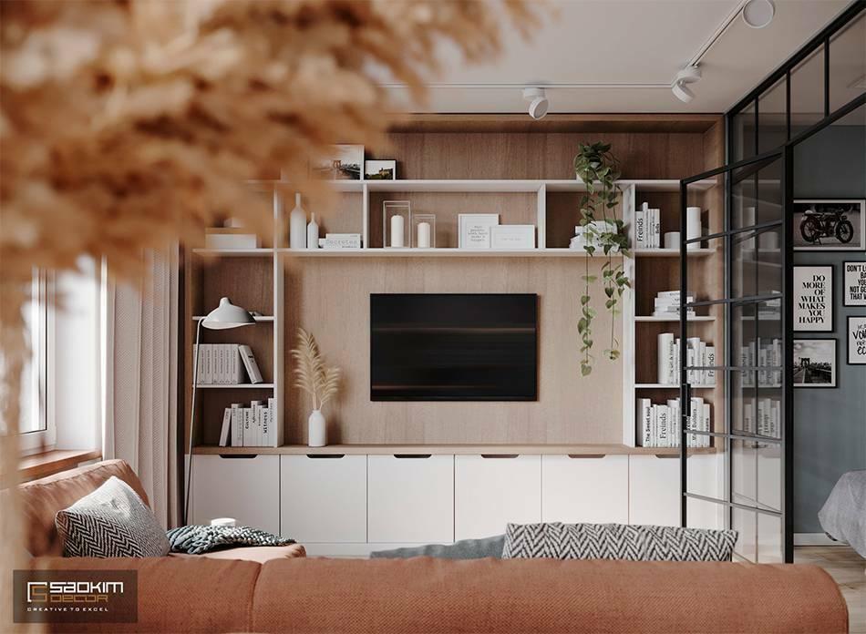 Thiết kế phòng khách căn hộ nhỏ 40m2 Vinhomes Smart City Tây Mỗ Đại Mỗ