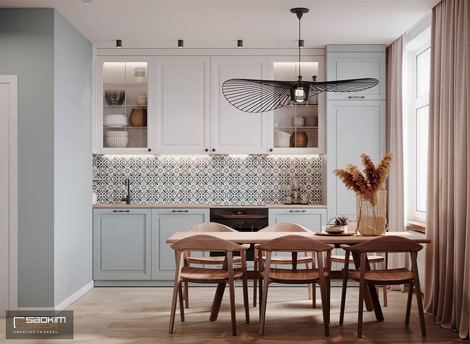 Thiết kế căn hộ 40m2 Vinhomes Smart City Tây Mỗ Đại Mỗvới phòng ăn đậm chất Scandinavian (Bắc Âu)