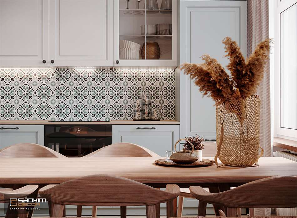 Thiết kế phòng bếp căn hộ 1 phòng ngủ Vinhomes Smart City Tây Mỗ Đại Mỗ theo phong cách Bắc Âu