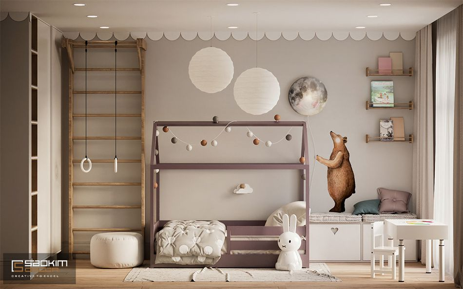 Phòng ngủ cho bé trong thiết kế căn hộ 80m2