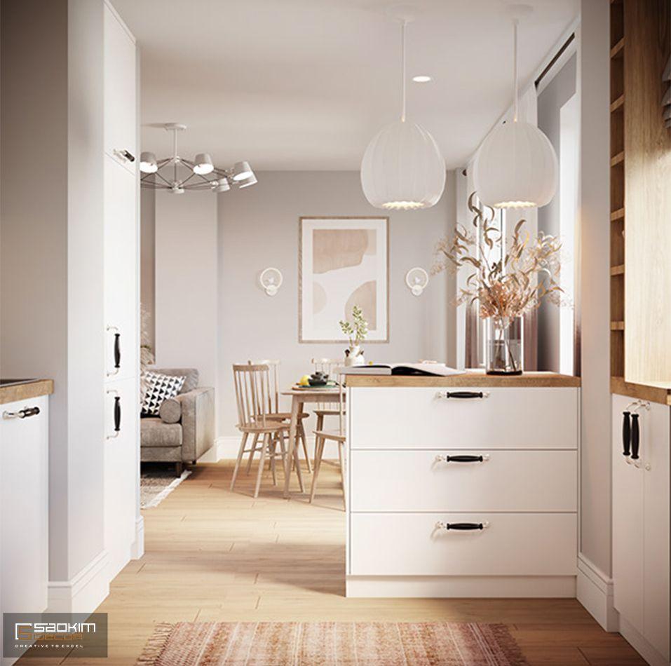 Thiết kế tủ đồ tiện dụng đồng thời ngăn cách khéo léo giữa không gian bếp và phòng ăn