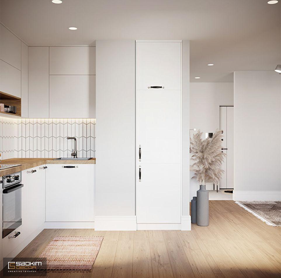 Nội thất gian bếp tối giản, hiện đại trong thiết kế căn hộ 80m2