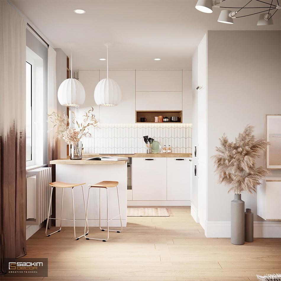 Không gian bếp nhỏ gọn, tiện nghi, sang trọng