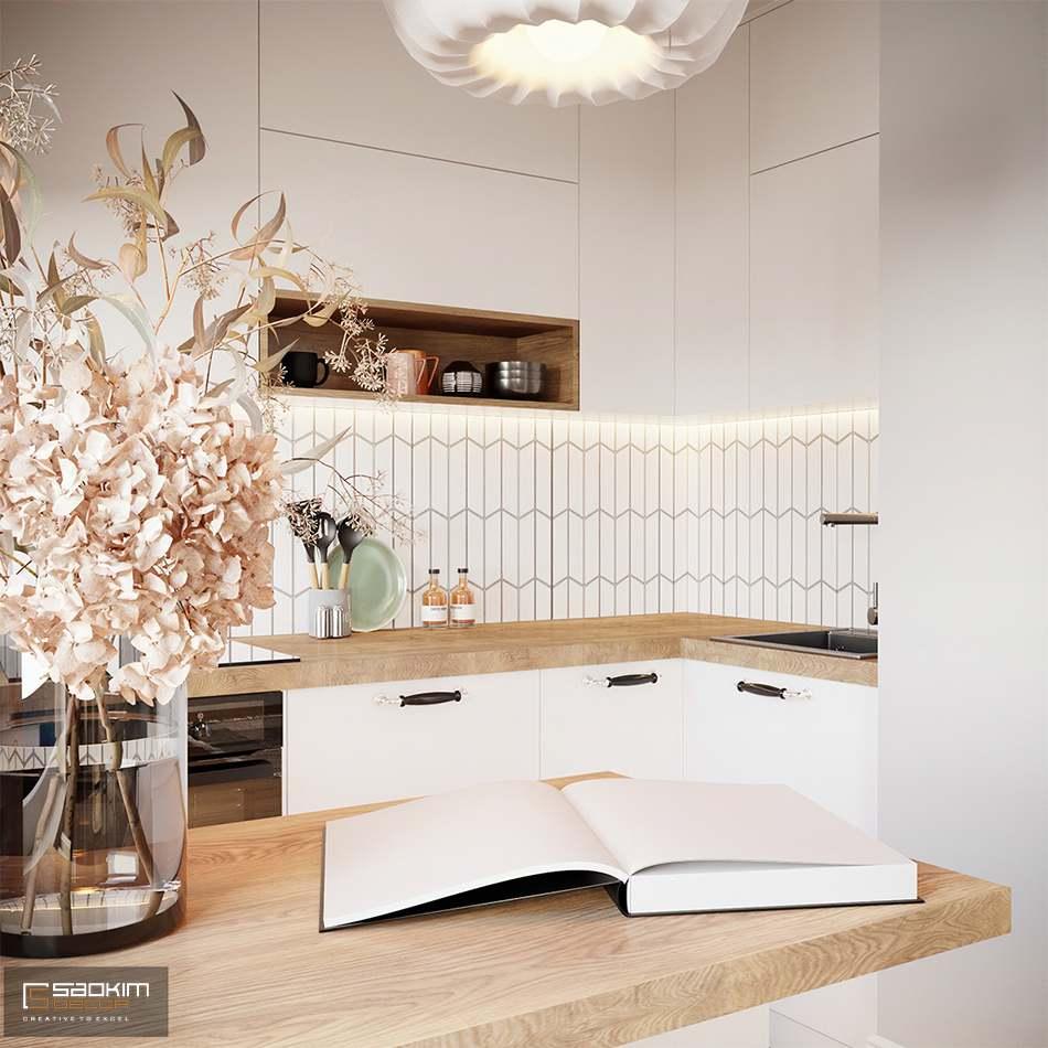 Mẫu thiết kế nội thất phòng bếp căn hộ chung cư 80m2