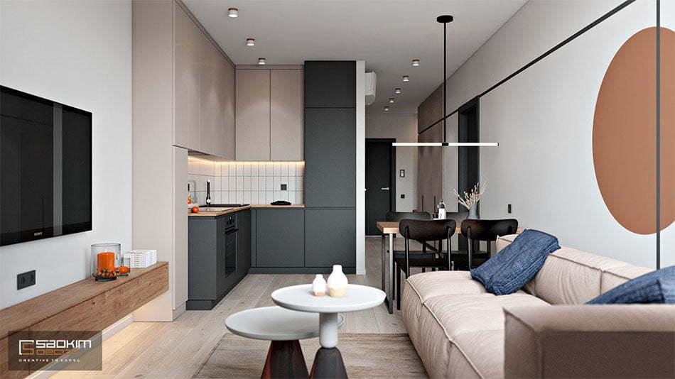 Thiết kế căn hộ chung cư đẹp 50m2 Sunshine Garden