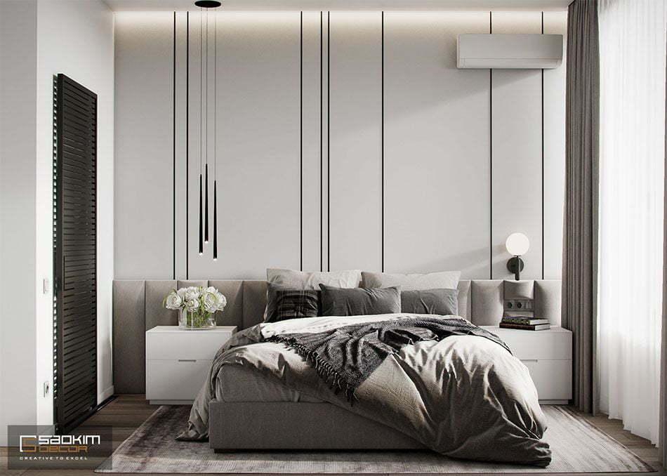 Thiết kế nội thất phòng ngủ master chung cư Vinhomes Ocean Park