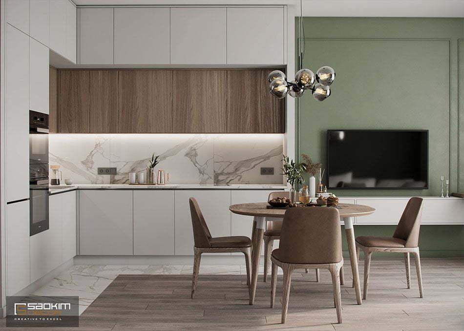 Thiết kế nội thất phòng ăn và bếp chung cư Vinhomes Ocean Park