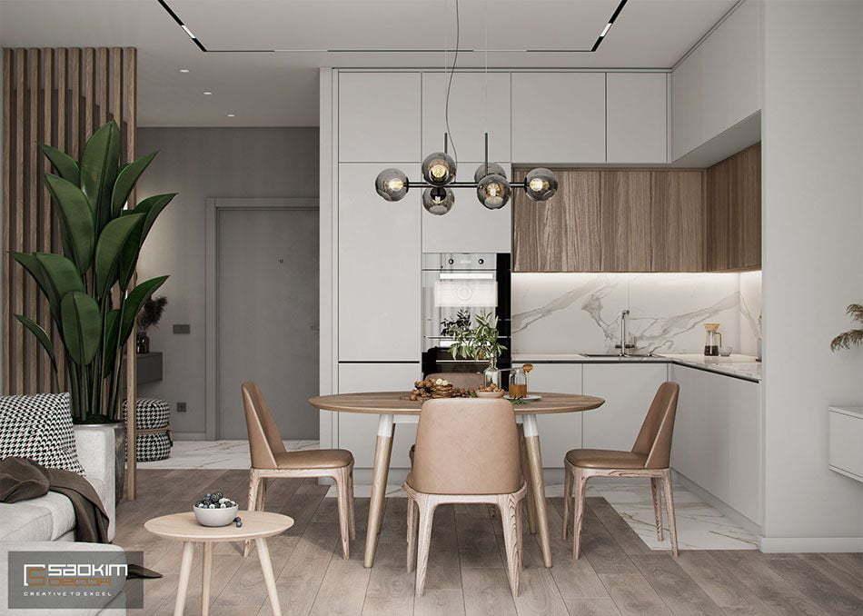 Thiết kế nội thất phòng bếp nhà chung cư 85m2