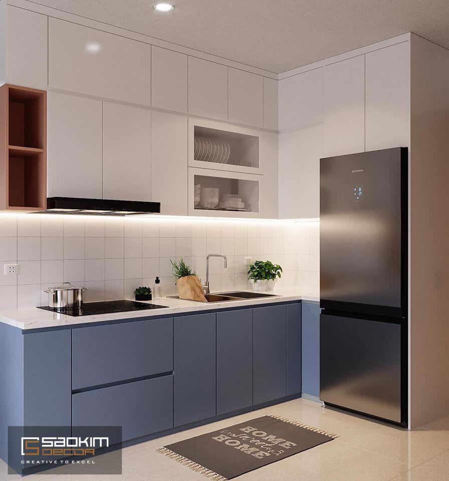Thiết kế nội thất phòng bếp theo phong cách Color block