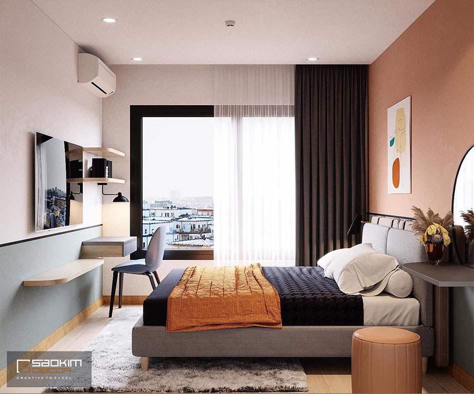 Thiết kế nội thất phòng ngủ theo phong cách Color block mang đến không gian trần đầy sức sống