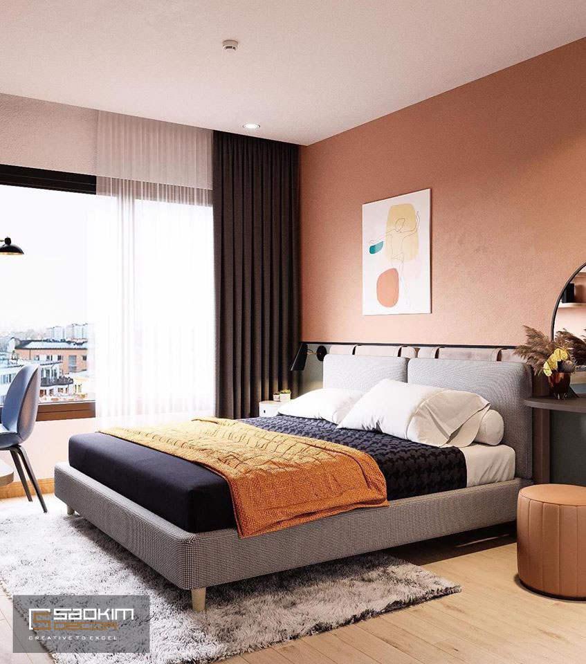 Những màu ấm không quá chói được lựa chọn cho phòng ngủ người lớn
