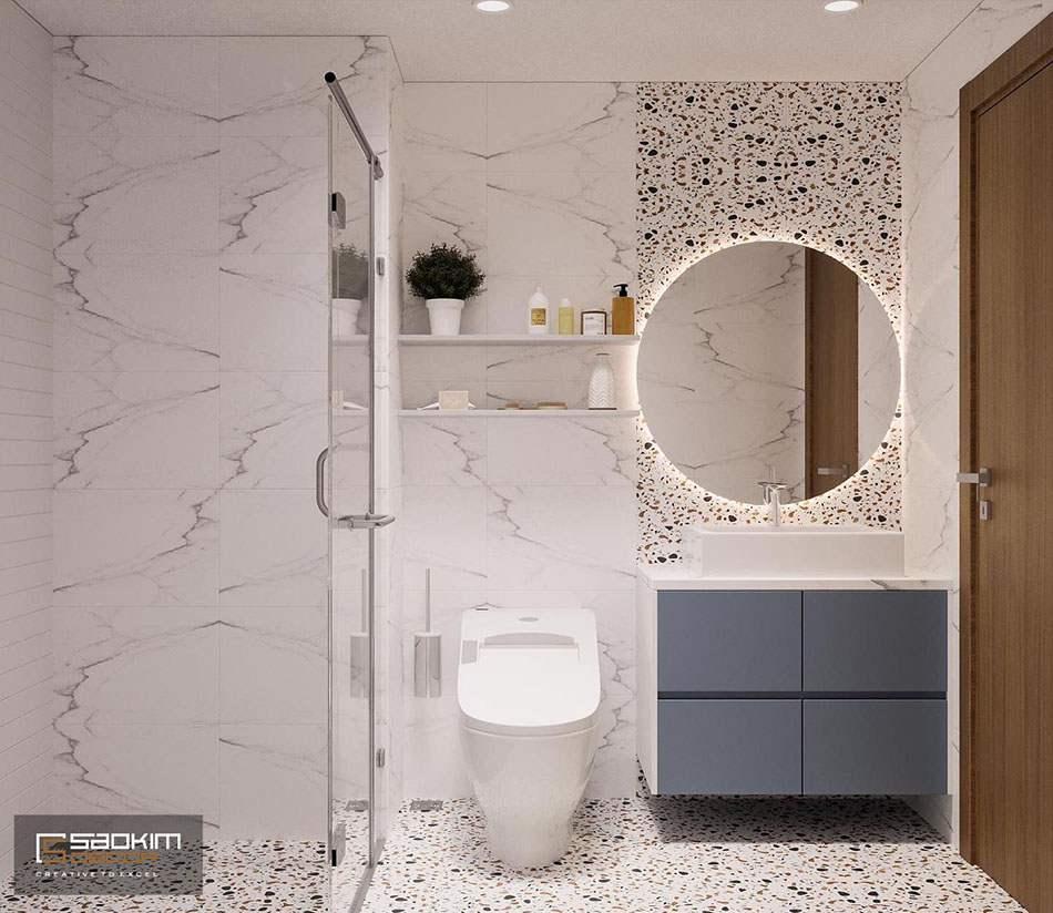 Thiết kế nội thất phòng tắm theo phong cách Color block