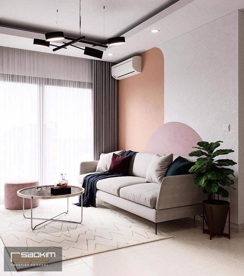 Các mảng màu được phối hợp hài hòa mang đến không gian phòng khách tươi mới, ngập tràn sức sống