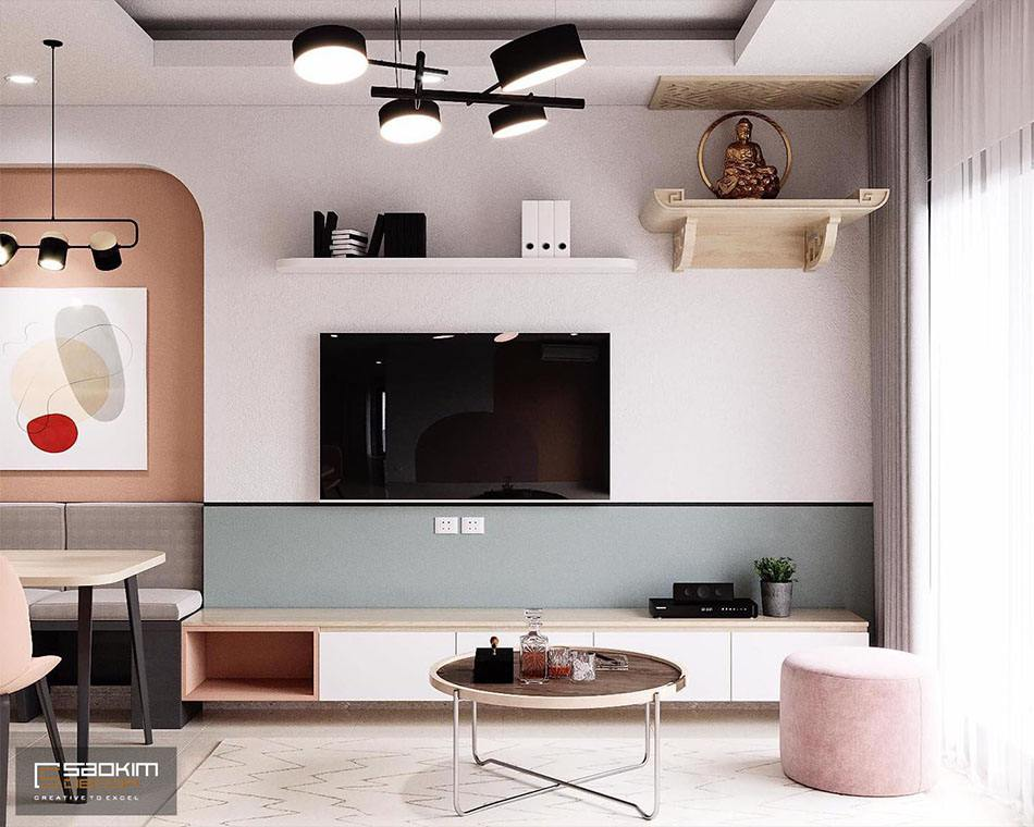 Thiết kế nội thất Color block cho phòng khách được rất nhiều ngưởi trẻ yêu thích vì rực rỡ sắc màu
