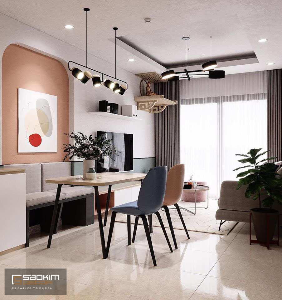 Phòng khách và bếp được kết nối bằng các gam màu tương đồng