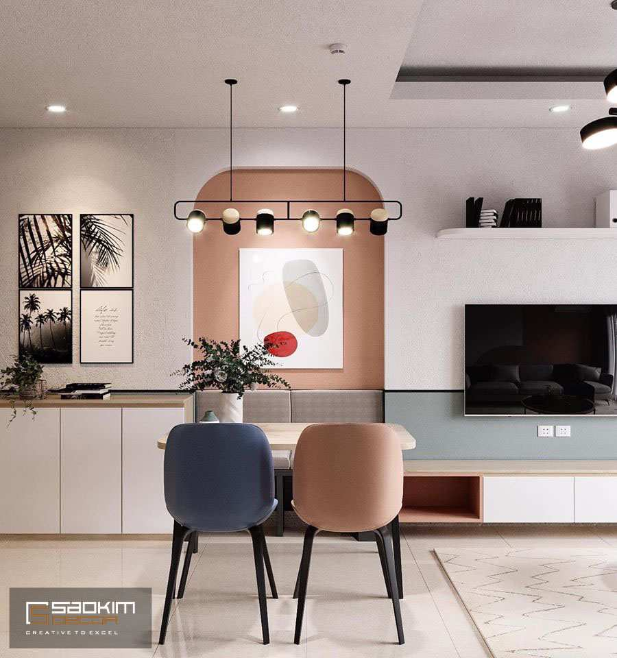Trong thiết kế nội thất Color block phòng khách và bếp được kết nối bằng các gam màu tương đồng