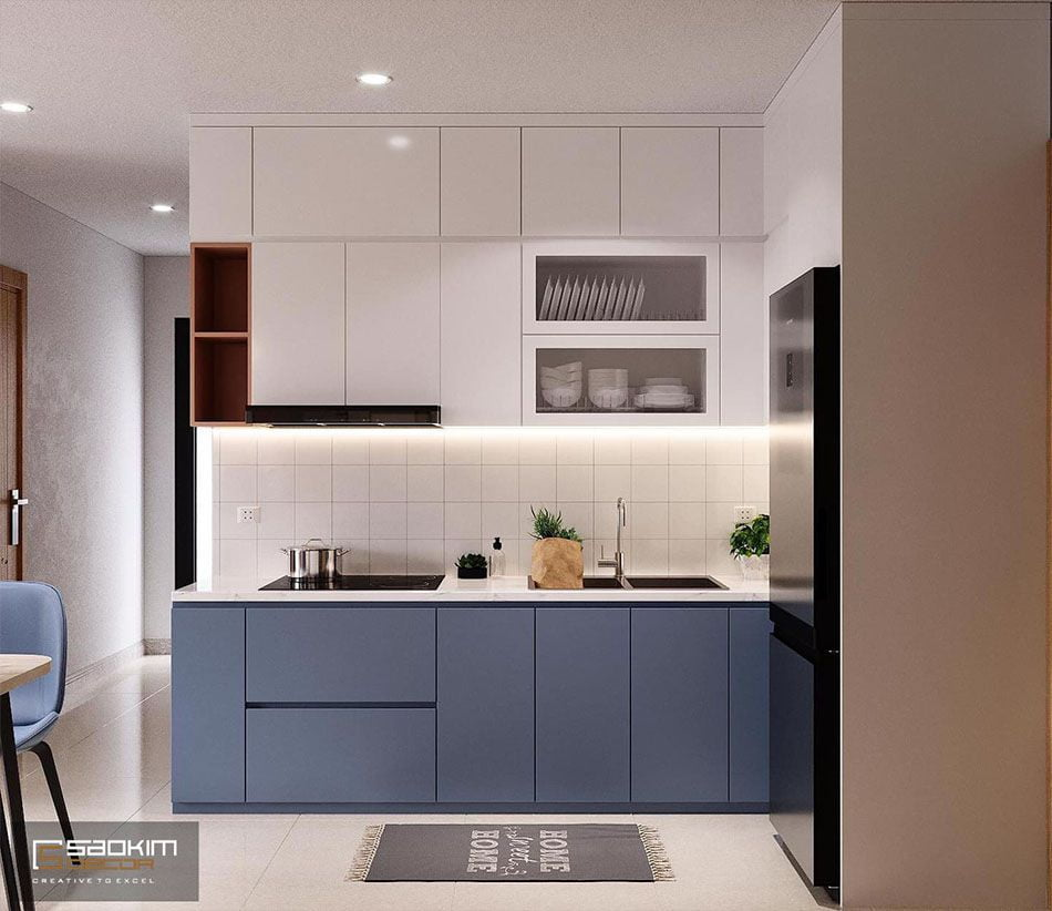 Phòng bếp tạo ấn tượng ngay từ cái nhìn đầu tiên nhờ cách phổi màu hoàn hảo từ tông màu xanh navi nhạt - trắng