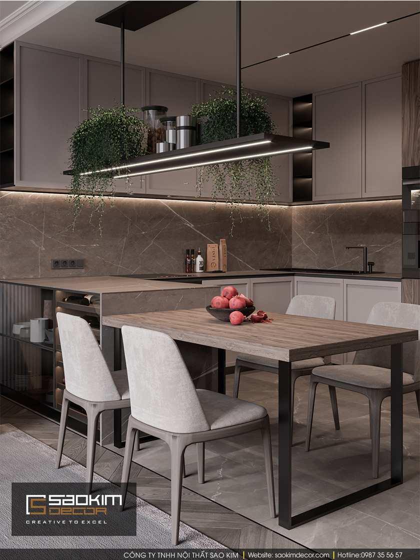 Lựa chọn bàn ăn bằng gỗ trong nội thất phòng ăn chung cư
