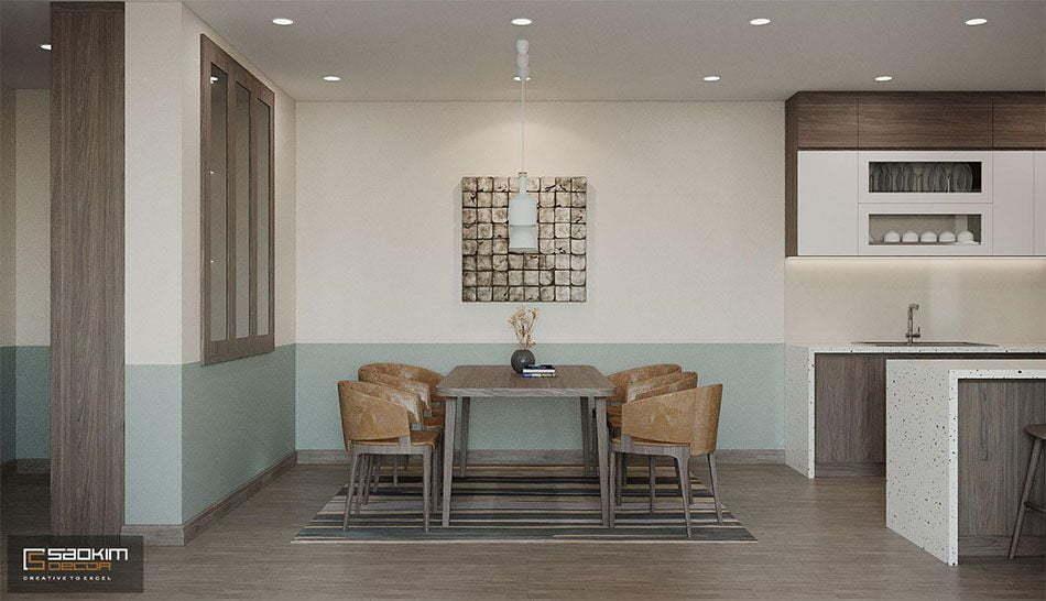 Phòng ăn rộng thoáng với cách trang trí đơn giản