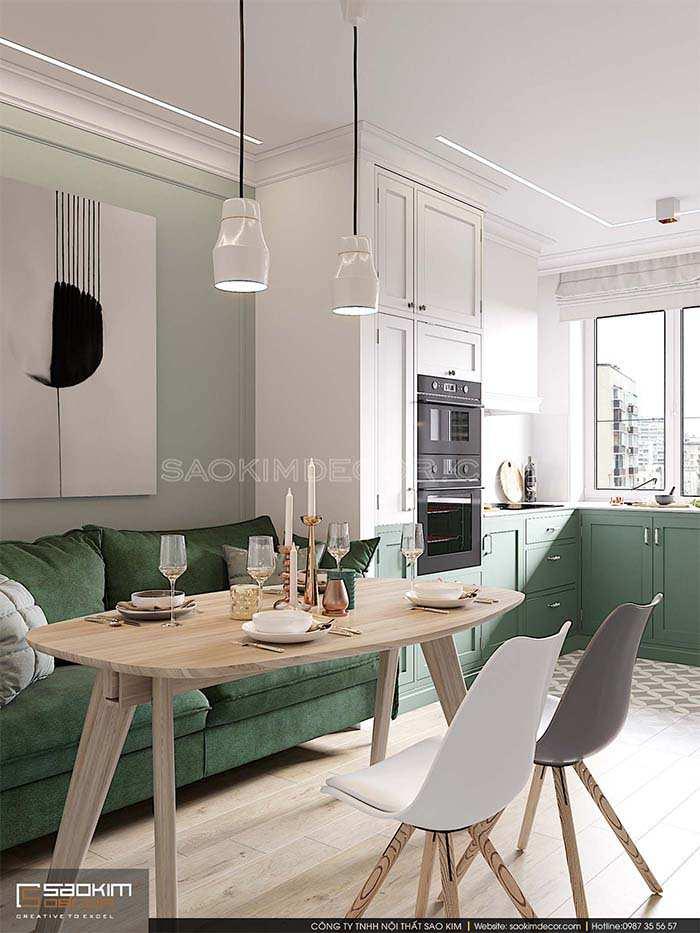 Mẫu phòng ăn căn hộ chung cư phong cách bán cổ điển